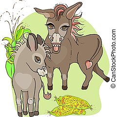 asino, animali, style., bambino, .donkey., fattoria, mamma, cartone animato