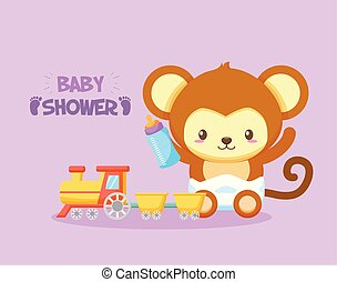 asino, doccia, scheda, bambino