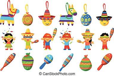asino, elementi, messicano, modellato, rottura, bambini, tradizionale, vettore, fondo, pinata, illustrazioni, bianco, pinata, festa