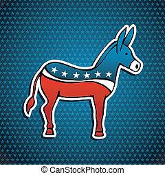 asino, emblema, stati uniti, elezioni, festa, democratico