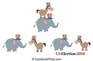 asino, repubblicano, vs, elefante