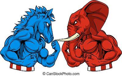 asino, vs, elefante, politica, americano, elezione, concetto