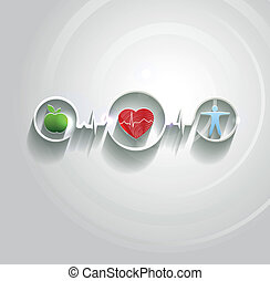 asistencia médica, concepto, símbolos, conncected