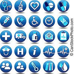 asistencia médica, iconos, mate