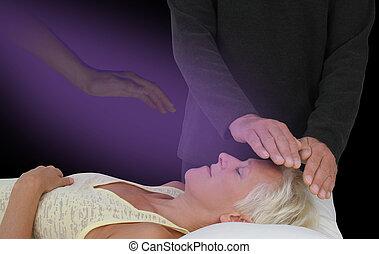 asistido, sesión, espiritualmente, curación