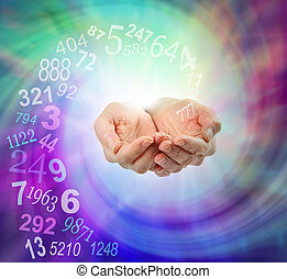 Female cupped hands emerging from an ethereal multicolored spiraling energy field and a swirl of random numbers coming into her hands with copy space