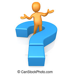3d person standing in the middle of a large question mark.