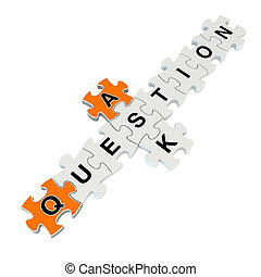Ask question 3d puzzle on white background