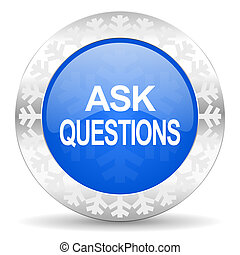 ask questions blue icon, christmas button