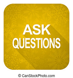 ask questions flat icon, gold christmas button