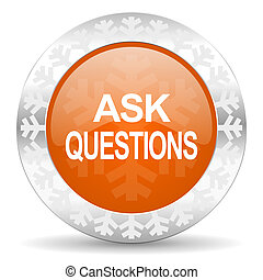 ask questions orange icon, christmas button
