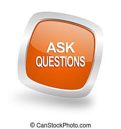 ask questions square orange glossy chrome silver metallic web icon