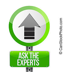 ask the experts ahead road sign illustration