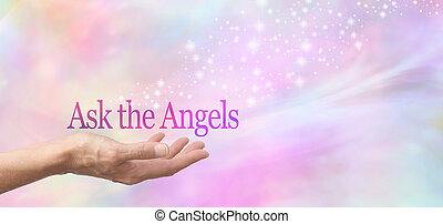Ask Your Angels for Help - Female hand face up with the ...