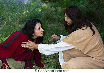 Asking for forgiveness - Repentant sinner woman touching the...