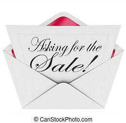 Asking for the Sale Envelope Letter Message Sales Close Deal