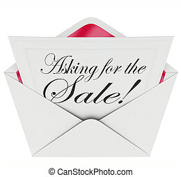 Asking for the Sale Envelope Letter Message Sales Close Deal