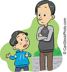 Asking Question - A boy ask to his father some questions. ...