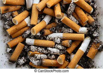askkopp, fyllda, av, cigarettes., smutsa ner, tobak,...