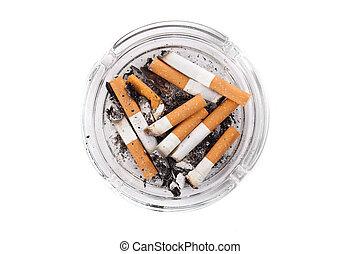 askkopp, fyllda, av, cigarretter, närbild