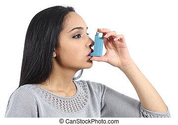 asmático, árabe, mujer, respiración, de, un, inhalador
