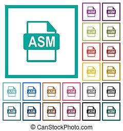 asm, bestand, formaat, plat, kleur, iconen, met, kwadrant, lijstjes