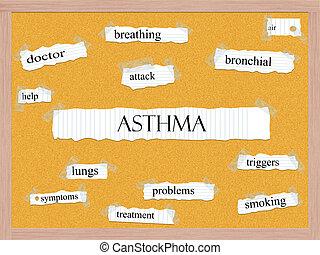 asma, conceito, corkboard, palavra