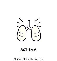 asma, lineare, segno, simbolo, concetto, vettore, magro, illustation, icona, linea