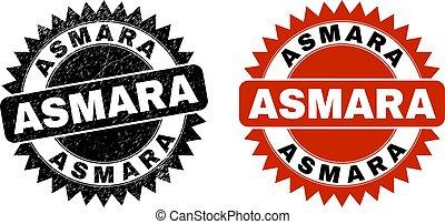 ASMARA Black Rosette Stamp Seal with Unclean Texture