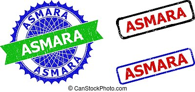ASMARA Rosette and Rectangle Bicolor Watermarks with Grunged Surfaces