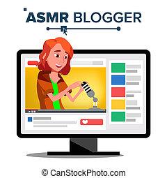 ASMR Blogger Channel Vector. Teen. Whisper. Online Live...