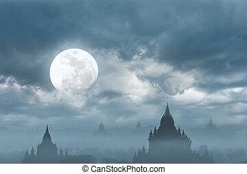 asombroso, castillo, silueta, debajo, luna, en, misterioso, noche