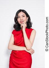 asombroso, lujo, mujer asiática, en, elegante, rojo, vestido partido