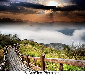 asombroso, salida del sol, y, montaña
