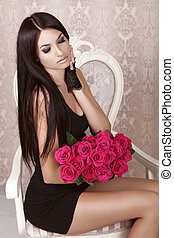 asombroso, sexy, morena, niña, tenencia, ramo, de, rosa, roses., valentine, día, amor, hermoso