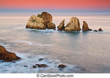asombroso, vista marina, salida del sol