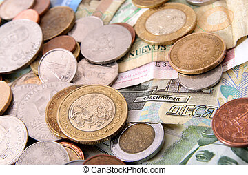 asortyment, od, obcokrajowy, pieniądze