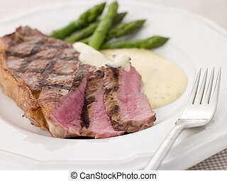 asparago, bistecca, lance, bearnaise