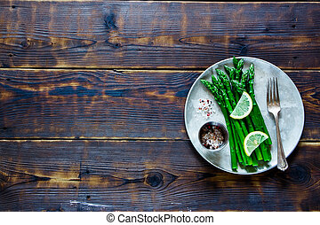 asparago, cotto, piastra
