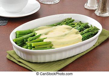 asparago, fresco, cotto