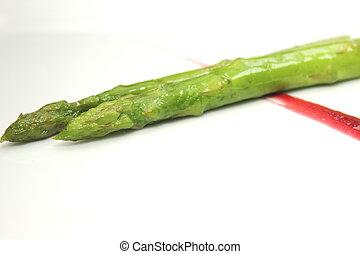 asparago, piastra, cotto