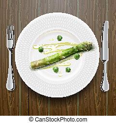 asparago, piastra, verde, fresco