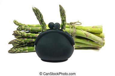 asparago, vendemmia, borsellino, isolato, bianco, moneta