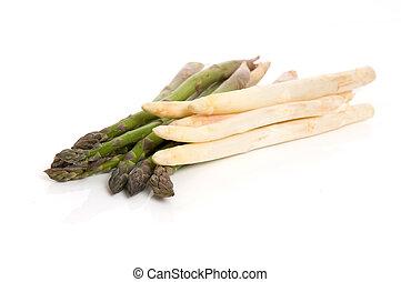 Asparagus 6 - White asparagus and green asparagus isolated...