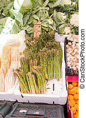Asparagus and vegetables at a market