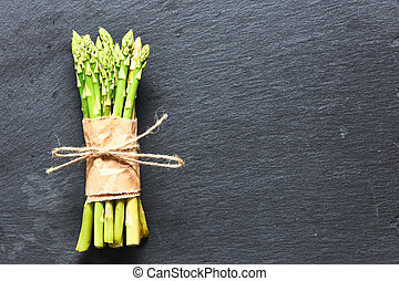 Asparagus - Bunch of asparagus over slate background