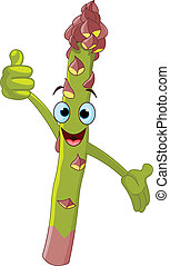 Illustration of a asparagus Character giving thumbs up