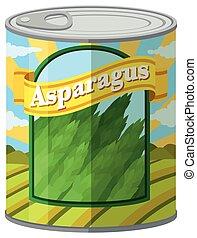 Asparagus in aluminum can
