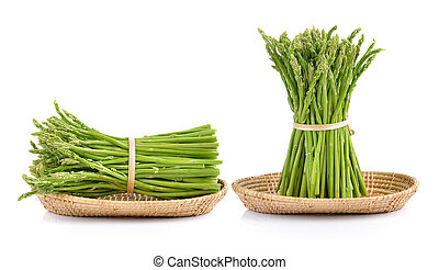 asparagus in the basket on white background