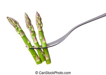 asparagus on fork